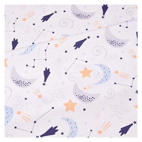 JIAHUI Manta de algodón estampado de dibujos animados utilizada para colcha hecha a mano con costuras (color: luna azul, tamaño: 160 x 50 cm)