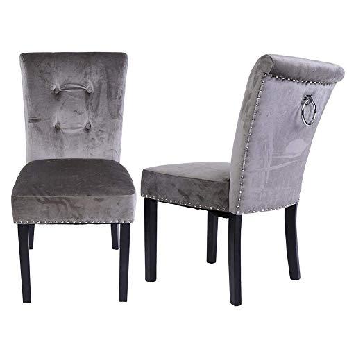 Ejoyous - Sillas de comedor, 1 par de sillas de cocina, de terciopelo, acolchadas, con patas de made