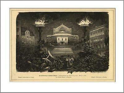 Kunstdruck Zur Erinnerung an Richard Wagner Leipzig Tod in Venedig 1883 Holzstich GL 298