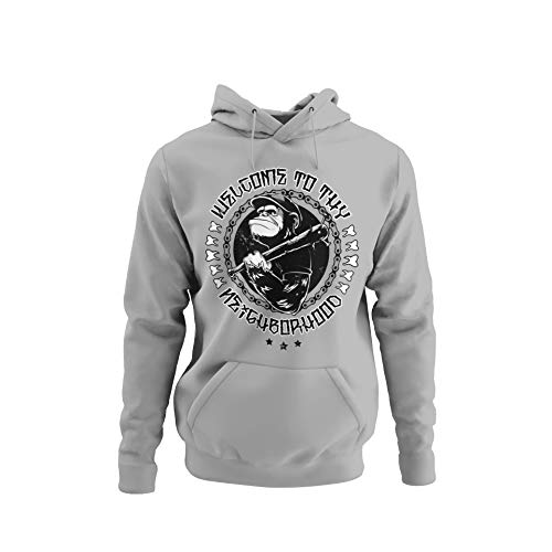 knut Fashion & Streetwear Stylischer Herren Hoodie im Punk Style Motiv Willkommen in der Nachbarschaft Kapuzenpullover in Grau Asphalt Khaki Unisex Hip Hop Red Skin AFFE Ape Gr. S-4XL (Fog Grey, L)