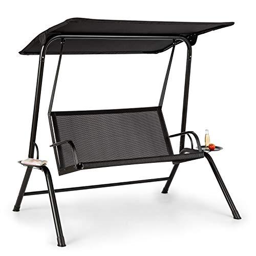 blumfeldt Bel Air Mono Swing Hollywoodschaukel - Stahlrahmen, atmungsaktiv, leichte Reinigung, Mono Relax-Bauweise, Sonnendach, Sitzfläche: 120 x 50 cm (BxT), Max. Belastung: 160 kg, schwarz