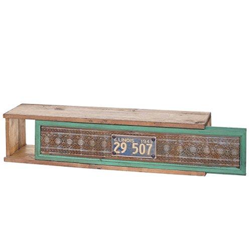 Mendler Wandregal HWC-A43, Hängeregal Regal, Tanne Holz massiv Vintage Patchwork 65x16x13cm