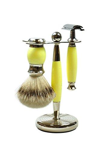 Golddachs Rasierset mit Rasierpinsel (100 Prozent Silberzupf) und klassischem Rasierhobel, gelb/silber, 1er Pack (1 x 2 Stück)