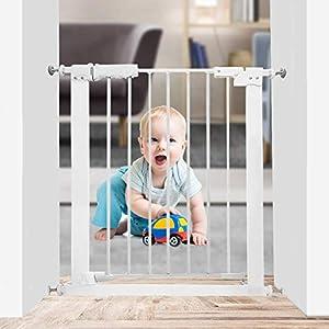 WAOWAO Narrow Doorway Baby Gate Easy Walk Thru Pressure Mount Auto Close White Metal Child Dog Pet Safety Gates Stairs,Doorways,Kitchen and Living Room 24.02-27.95 in
