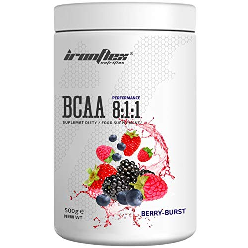 IronFlex BCAA 8:1:1-1 Pack - Branched Chain Amino Acids in Powder - Muscle Regeneration - Anticatabolic (Berry Burst, 500g)