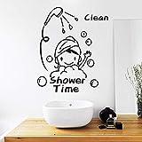 Ducha limpia pegatinas de pared de niña linda, niños, pegatinas de puerta de vidrio de baño, pegatinas de pared de decoración del hogar A2 55x45cm