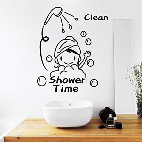 Ducha limpia pegatinas de pared de niña linda, niños, pegatinas de puerta de vidrio de baño, pegatinas de pared de decoración del hogar A3 41x34cm