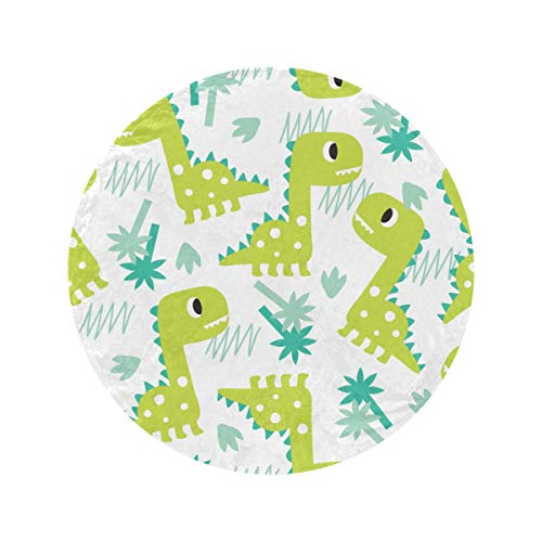 Round Baby Dinosaur Cute Cartoon Lap Blanket Soft and Cozy Lap Blanket Circle Blanket Throw Fuzzy Blanket For Home Bed Couch Travel(47in/60in)