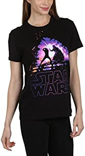 Star Wars Luke Vader Lightsaber Battle Women's Juniors Boyfriend T-Shirt, True Black
