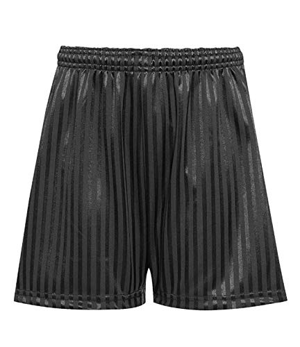 Rohi Shadow Stripe Gym Sports Games School PE Shorts Unisex, Children's Drawstring PE Shorts Uniform - 11-12 Years, Black