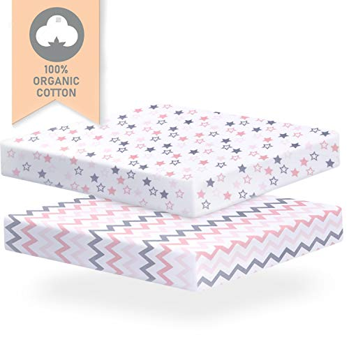 Sofia Amber Pack and Play Sheets Fitted - Mini Crib Sheet Set - Pack n Play Sheet for Girl – Baby Playard Sheets – Portable Crib Sheets 100% Organic Cotton Compatible with Graco 4mom Mattress