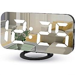 Digital Alarm Clocks,7 LED Mirror Electronic Clock,with 2 USB Charging Ports,Snooze Mode,Auto Adjust Brightness,Modern Desk Wall Clock for Bedroom Living Room Office - Black