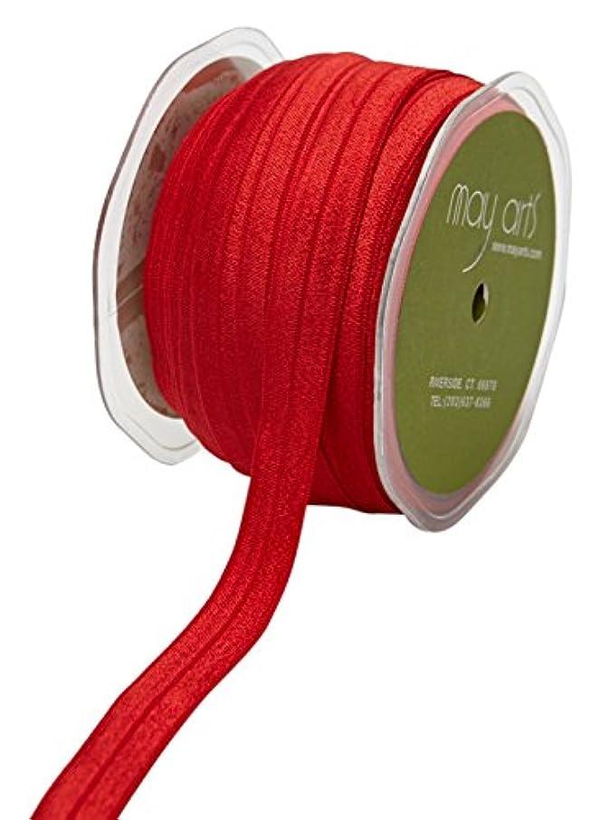 May Arts Ribbon 5/8 Inch Elastic Ribbon, 30 yd, Red