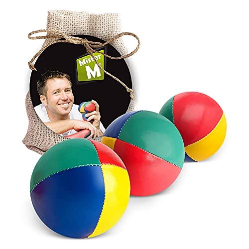 Mister M Jonglierbälle Anfänger 3er Set + Gratis Online Lehrvideo - 100g pro Jonglage Ball - Jonglierbälle Kinder Set im praktischen beigen Jutebeutel - Jonglieren Set auch geeignet für Erwachsene, Anfänger und Profis - Stressball