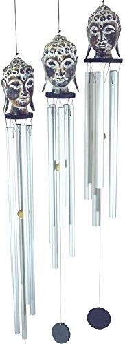 Guru-Shop Jeu Sonore en Aluminium, Carillon du Vent Bouddha en 3 Tailles, Longueur et Diamètre du Tuyau: L-L 120cm - 18mm, Carillons à Vent Carillons à Tonalité