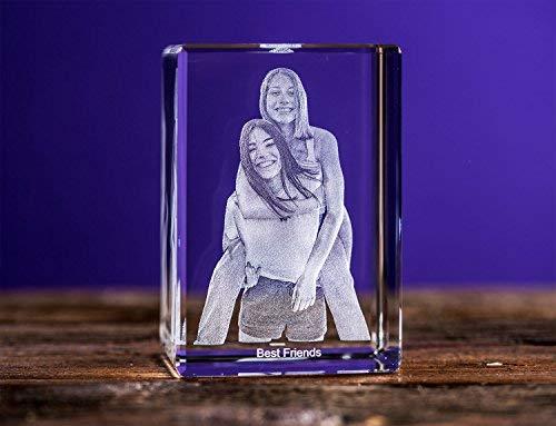 Isonio 3D Glasfoto - Ihr Foto in 3D in Viamant Glas gelasert - 3D Foto für Fotos mit maximal 1-6 Personen (XL Hochformat 75x110x65mm)