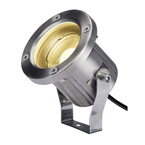 SLV Erdspiessleuchte NAUTILUS SPIKE / Außenlampe für die Beleuchtung von Garten, Terrasse, Pflanzen, Wegen, Teich, LED Aussen-Leuchte, Außen-Strahler / IP55 3000K 9.0W 520lm edelstahl