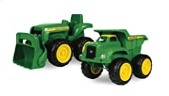 Vehicle pack: This John Deere vehicle pack features a dump truck and a tractor which are perfect for sandbox play Interactive toys: These John Deere vehicle toys feature functional parts which includes a moving dump bed and a front loader Easy to use...