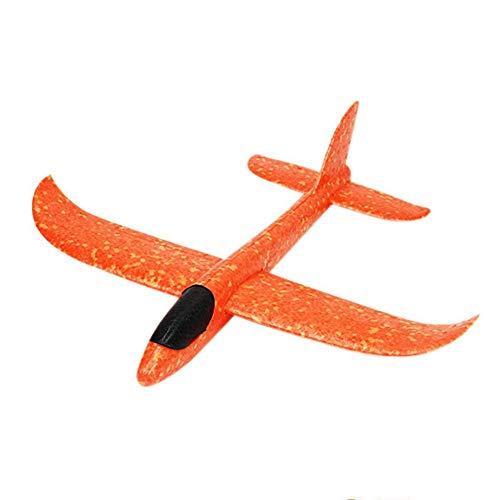 4 stuks zeilvliegtuig met lampjes, handmatig gooien, piepschuim vliegtuig kinderen vliegtuig speelgoed outdoor werp zeilvliegtuig gooien vliegen model voor kinderen kinderverjaardag, 37 cm oranje