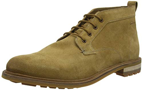 Clarks Herren Foxwell Mid Chukka Boots, Beige (Dark Sand Dark Sand), 42.5 EU