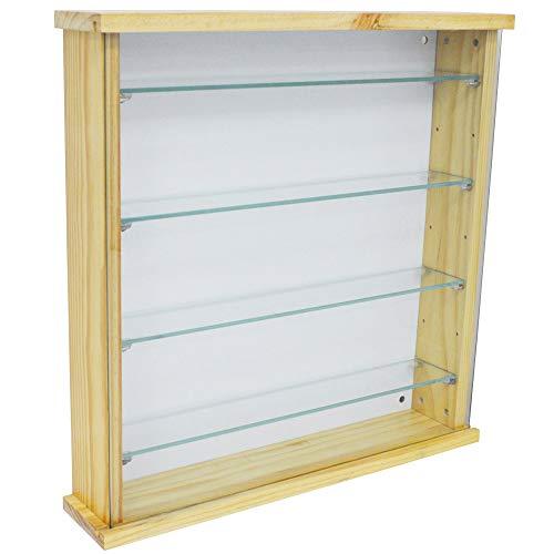 WATSONS EXHIBIT - Solid Wood 4 Shelf Glass Wall Display Cabinet - Natural Pine