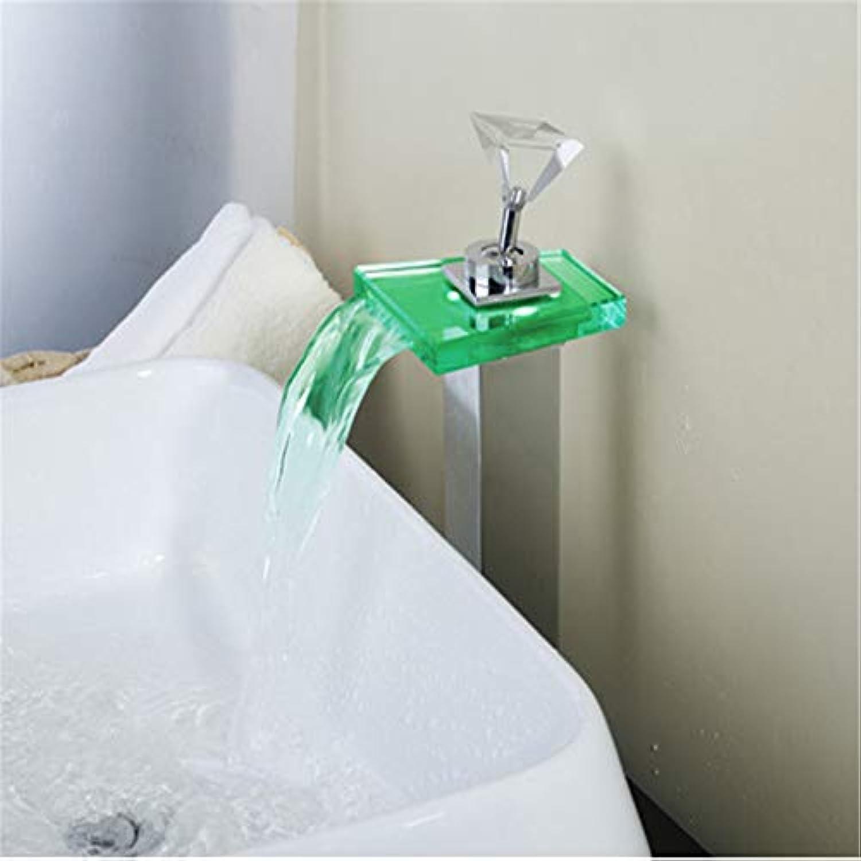 WAWRR Bunte LED-Bauchhahn, Temperatur Control Küche Bad Wasserstrom Fauce geeignet für Küche und Bad