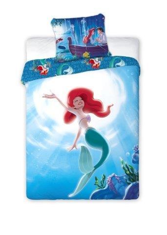 La Petite Sirène Parure de lit 100% Coton Ariel - Housse de Couette + Taie d'oreiller Princesses Disney