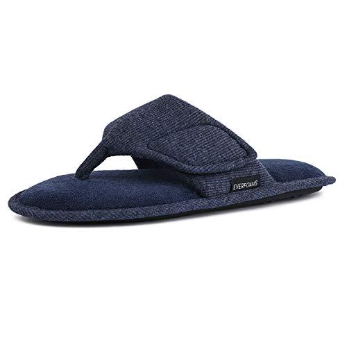 EverFoams Herren Damen Memory Foam Flip Flops Open Toe Tanga Spa Hausschuhe mit verstellbaren Haken und Schleife,Blau 42/43 EU