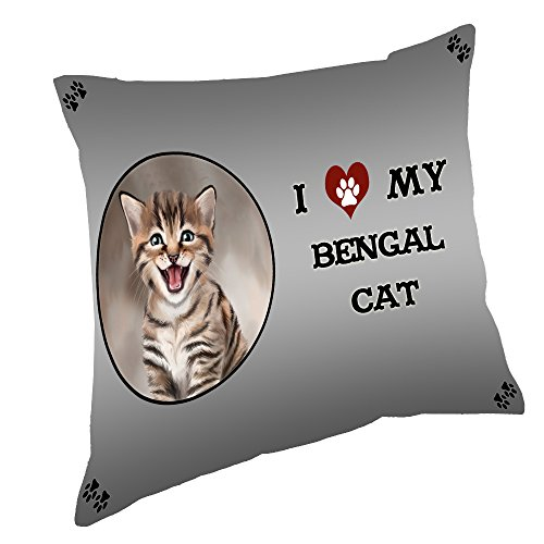 Doggie of the Day I Love My Bengal Cat Throw Pillow (18x18)