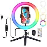 VicTsing Anillo de luz LED 34 Colores RGB, Aro de Luz de 10' con Trípode Control Remoto Bluetooth para Móvil Selfie,Fotografía,Maquillaje,Youtube,TIK Tok Live