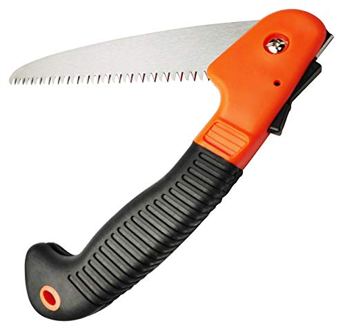 """Folding Hand Saw, Pruning Saw with 8"""" Triple-cut Steel Blade & No-Slip Handle Portable Wood Saw for Camping, Hiking, Trimming, Sawing, Cutting Wood"""