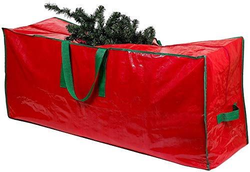SHATCHI Christmas Bag-Stores Up to 9 Foot Disassembled Artificial Xmas Tree, Durable Waterproof Material Zippered Storage Container with Carry Handles, Red, 164 x 38 x 76cm