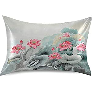 OMALI Satin Pillowcase for Hair and Skin Silk Pillowcase King Size Chinese Painting Flower Lotus Print Pillow Cases Cooling Satin Pillow Covers with Envelope Closure