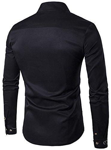 HOP Men's Casual Irregular Longline Hem Slim Fit Button Down Dress Shirt HOPM002-Black-S