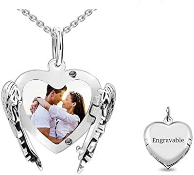Jack F Personalized Engraved Photo Necklace Customized Angel Wings Sterling Silver Heart Picture product image