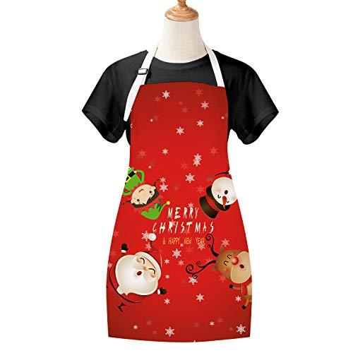 Bateruni Rote Weihnachten Kinder Kochschürzen, Schneemann Schürzen mit Verstellbarem Halsriemen, wasserdichte Polyester Baumwolle Kochschürzen Neuheit Geschenke