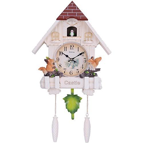 JHKGY Reloj De Cuco Minimalista De Diseño Moderno,Sala De Estar Decoración De Pared Reloj De Cuco Artesanal W/Volumen Ajustable Y Sensor Nocturno,Reloj De Pared De Péndulo De Cuarzo,Blanco