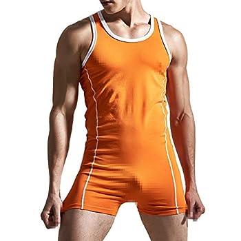 Men s One Piece Cotton Boxer Briefs Lingerie Bodysuit Teddy Stretchy Mankini Thongs Tights Leotard Top Bodywear Wrestling Singlet Lounging Underwear Orange