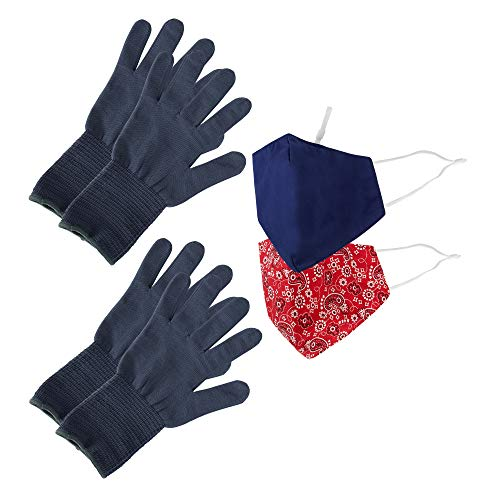 Wembley Washable & Resuseable Personal Protection Face Mask, Gloves, and Touch Tool Utility Kit, Bandana Red, One Size