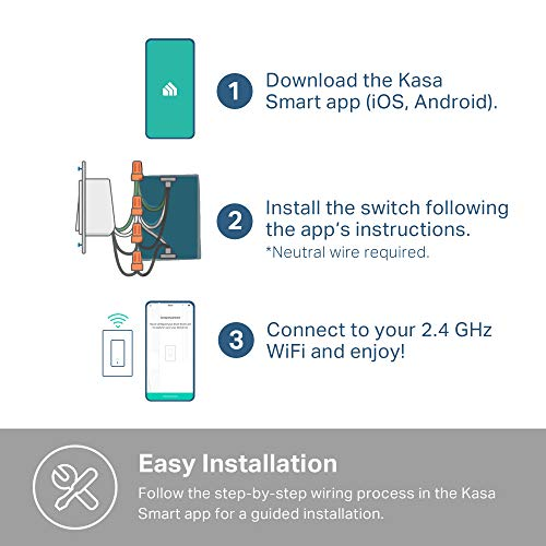 Kasa Smart HS200 Light Switch by TP-Link, Single Pole, Needs Neutral Wire, 2.4Ghz Wi-Fi Light Switch Works with Alexa and Google Assistant, UL Certified, 1-Pack, White