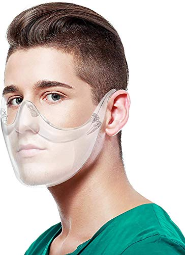 Clear Transparent Face Shield Mask Anti-Fog Reusable Visor for Men and Women face Nose Mouth Protection