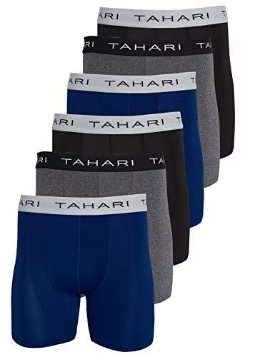 Tahari Mens Underwear 6 Pack Premium Comfort Performance Boxer Briefs Black/Navy/Dark Heather Large