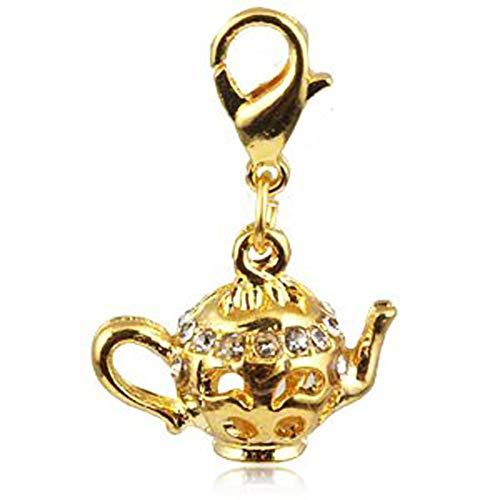 Andante-Stones Gold Charm hanger theepot met fonkelende kristallen stenen + organza zakje