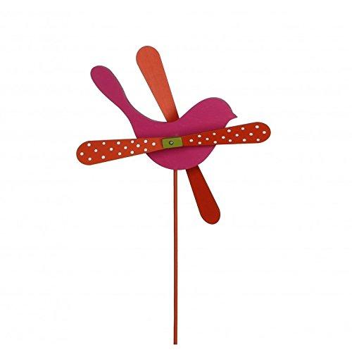 L'Héritier Du Temps Mobile windmolen in vogelvorm, klimhulp voor tuin of plant van hout, kleurrijk, fuchsia en rood, 25 x 25 x 57 cm