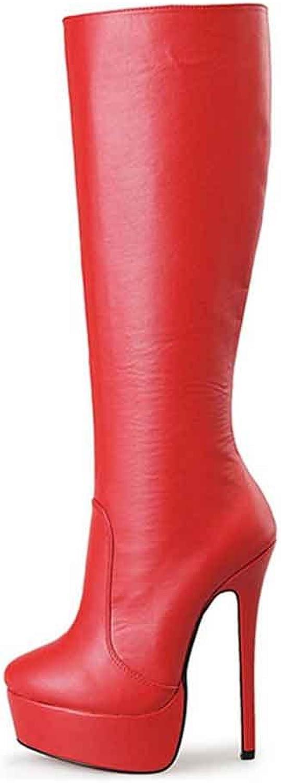 LIRRUIJIA Woherrar Woherrar Woherrar Knee Zipper hög klack stövlar QXX -A9 -2  Toppvarumärken säljer billigt