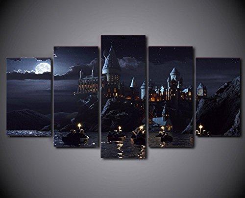 Lienzo de enmarcado/Castillo de pintura escuela de Harry Potter Hogwarts casa oficina decoración de la pared imágenes para sala de estar/sala de oficina, XLarge (40*60cm*2+40*80cm*2+40*100cm*1)