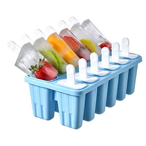 Hidyliu 1 molde de 12 celdas para helados, reutilizable, de silicona, fácil de limpiar, se puede utilizar con frutas y zumo, para niños, adultos (azul)