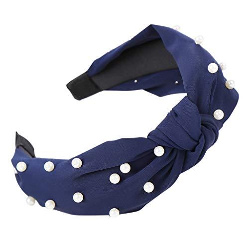 Fine Women s Pearl Hair Band Accessories Headband Fabric Hairband Comfortable Head Wrap Cross Knot (Navy)