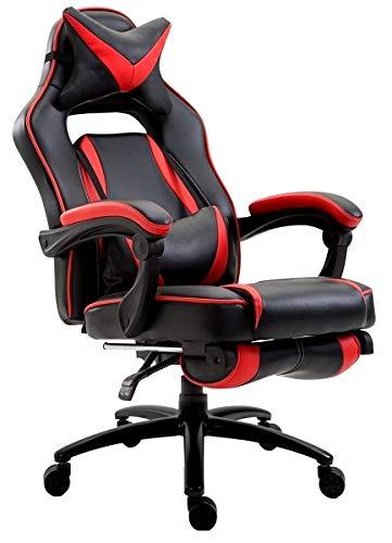 Delman XXL Gaming Stuhl Racing Stuhl Schreibtischstuhl Gaming Chair Drehstuhl Höhenverstellbar mit Fußstütze Fußablage mit Armlehnen Chefsessel Große Sitzfläche Dicke Polsterung 11 cm RS0019RD