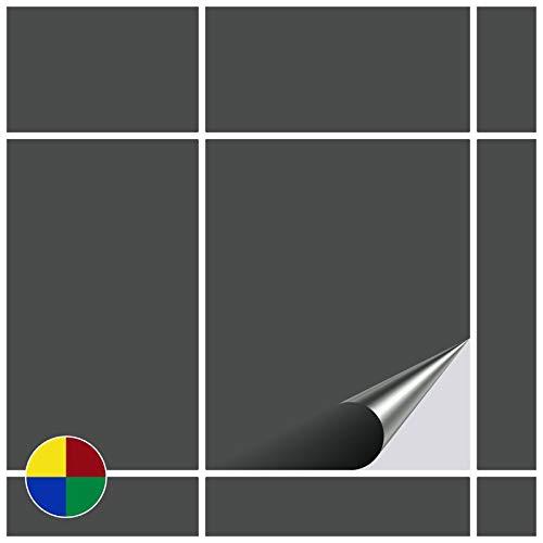 FoLIESEN Fliesenaufkleber 20x25 cm - Fliesen-Folie Bad - Klebefolie Küche - 30 Klebefliesen, Dunkelgrau matt